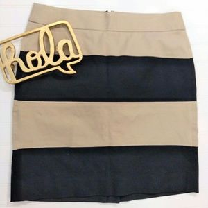 Banana Republic Black/Tan Striped Pencil Skirt